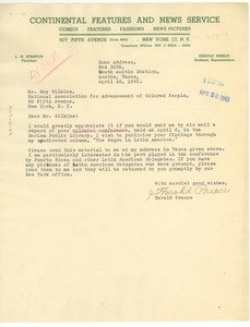 Thumbnail of Letter from Harold Preece to Roy Wilkins