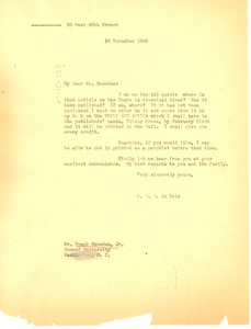 Thumbnail of Letter from W. E. B. Du Bois to Frank Snowden