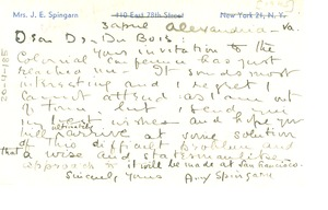Thumbnail of Postcard from Amy Spingarn to W. E. B. Du Bois