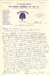 Thumbnail of Letter from United Pioneers of 1941, Inc. to W. E. B. Du Bois