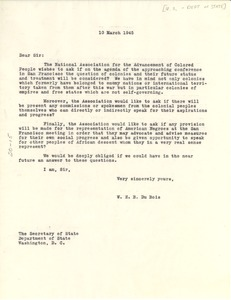 Thumbnail of Letter from W. E. B. Du Bois to United States Secretary of State
