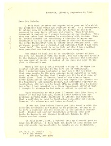 Thumbnail of Letter from Lester A. Walton to W. E. B. Du Bois