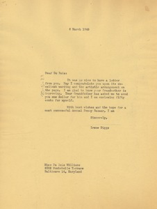 Thumbnail of Letter from Ellen Irene Diggs to Du Bois Williams