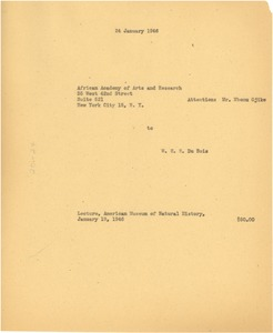 Thumbnail of Invoice from W. E. B. Du Bois to African Academy of Arts and Research