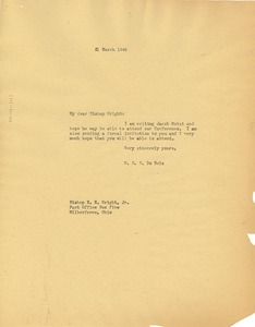 Thumbnail of Letter from W. E. B. Du Bois to Bishop R. R. Wright