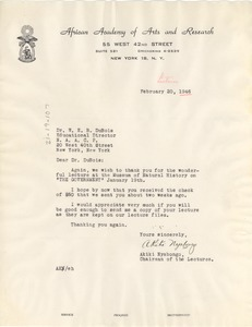 Thumbnail of Letter from African Academy of Arts and Research to W. E. B. Du Bois