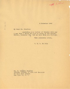 Thumbnail of Letter from W. E. B. Du Bois to African Academy of Arts and Research