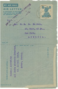Thumbnail of Air letter from All India Students Congress to W. E. B. Du Bois