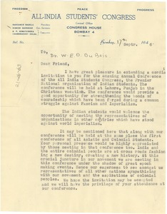 Thumbnail of Letter from All India Students Congress to W. E. B. Du Bois