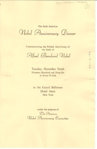 Thumbnail of American Nobel Anniversary Dinner program