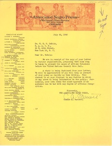 Thumbnail of Letter from Associated Negro Press to W. E. B. Du Bois