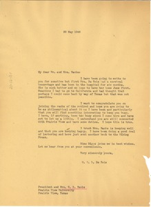 Thumbnail of Letter from W. E. B. Du Bois to Mr. & Mrs. W. R. Banks