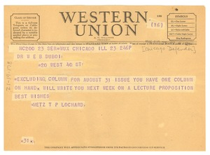 Thumbnail of Telegram from Chicago Defender to W. E. B. Du Bois
