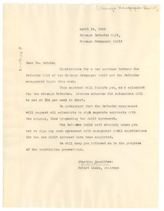 Thumbnail of Letter from Chicago Newspaper Guild to W. E. B. Du Bois
