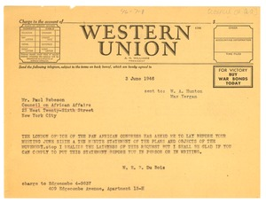 Thumbnail of Telegram from W. E. B. Du Bois to Council on African Affairs