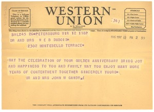 Thumbnail of Telegram from Mr. and Mrs. John M. Gandy to Dr. and Mrs. W. E. B. Du Bois