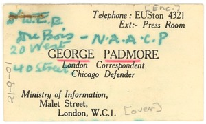 Thumbnail of Note from George Padmore to W. E. B. Du Bois