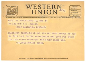 Thumbnail of Telegram from Mildred Bryant Jones to Dr. and Mrs. W. E. B. Du Bois
