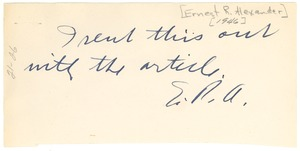 Thumbnail of Note from Ernest R. Alexander to W. E. B. Du Bois
