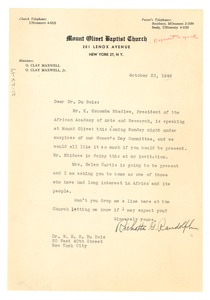 Thumbnail of Letter from Mount Olivet Baptist Church to W. E. B. Du Bois