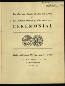 Thumbnail of National Institute of Arts and Letters Ceremonial and Exhibition program