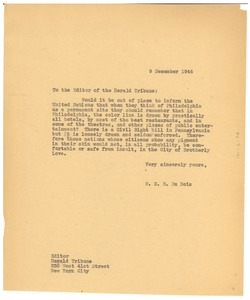 Thumbnail of Letter from W. E. B. Du Bois to New York Herald Tribune
