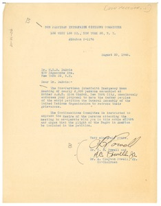 Thumbnail of Letter from Non-Partisan Interfaith Citizens Committee to W. E. B. Du Bois