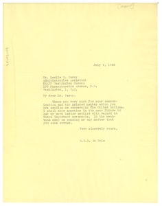 Thumbnail of Letter from W. E. B. Du Bois to Leslie Perry