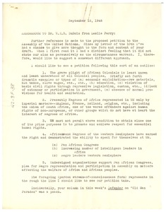 Thumbnail of Memorandum from Leslie S. Perry to W. E. B. Du Bois