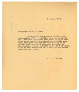 Thumbnail of Memorandum from W. E. B. Du Bois to Roy Wilkins