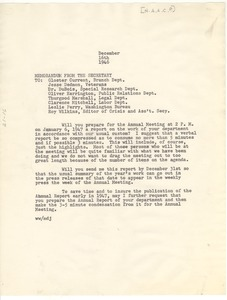 Thumbnail of Memorandum from Walter White to Gloster Current, Jesse Dedmon, W. E. B. Du Bois,             Oliver Harrington, Thurgood Marshall, Clarence Mitchell, Leslie Perry, and Roy Wilkins