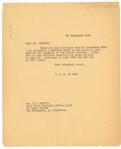 Thumbnail of Letter from W. E. B. Du Bois to NAACP West Coast Regional Office