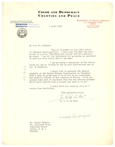 Thumbnail of Letter from W. E. B. Du Bois to George Padmore