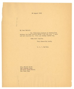 Thumbnail of Letter from W. E. B. Du Bois to People's Voice