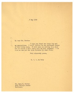 Thumbnail of Letter from W. E. B. Du Bois to Saul M. Perdue