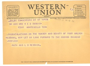 Thumbnail of Telegram from Ruth and L. D. Reddick to W. E. B. and Nina Du Bois
