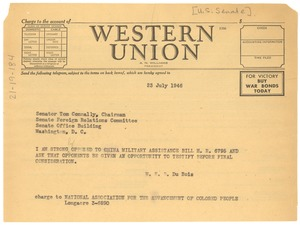 Thumbnail of Telegram from W. E. B. Du Bois to United States Senate