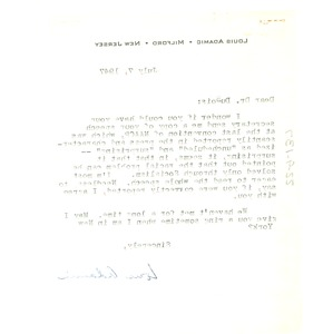 Thumbnail of Letter from Louis Adamic to W. E. B. Du Bois