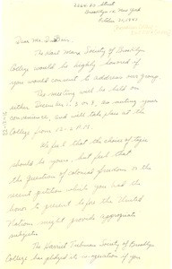 Thumbnail of Letter from Karl Marx Society of Brooklyn College to W. E. B. Du Bois