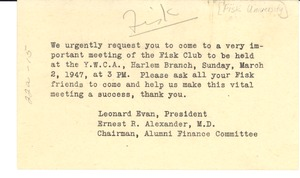 Thumbnail of Letter from Fisk Club to W. E. B. Du Bois