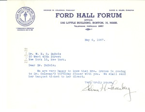 Thumbnail of Letter from Ford Hall Forum to W. E. B. Du Bois