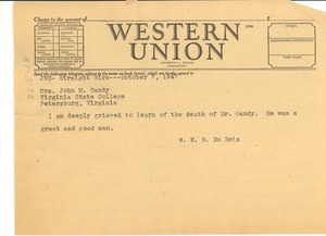 Thumbnail of Telegram from W. E. B. Du Bois to Mrs. John M. Gandy
