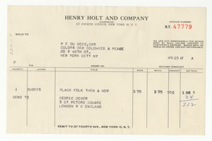 Thumbnail of Invoice from Henry Holt and Company to W. E. B. Du Bois