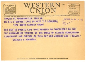Thumbnail of Telegram from Charles S. Johnson to W. E. B. Du Bois