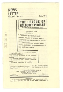 Thumbnail of League of Coloured Peoples newsletter
