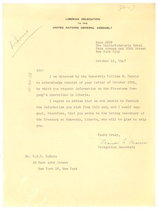 Thumbnail of Letter from Liberian Delegation to the United Nations to W. E. B. Du Bois