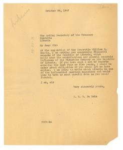 Thumbnail of Letter from W. E. B. Du Bois to Liberia Treasury Dept.