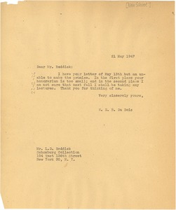 Thumbnail of Letter from W. E. B. Du Bois to New School for Social Research
