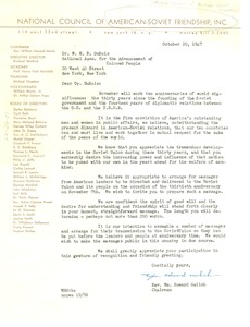 Thumbnail of Letter from National Council of American-Soviet Friendship to W. E. B. Du Bois