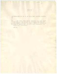 Thumbnail of Memorandum from Gloster B. Current to W. E. B. Du Bois